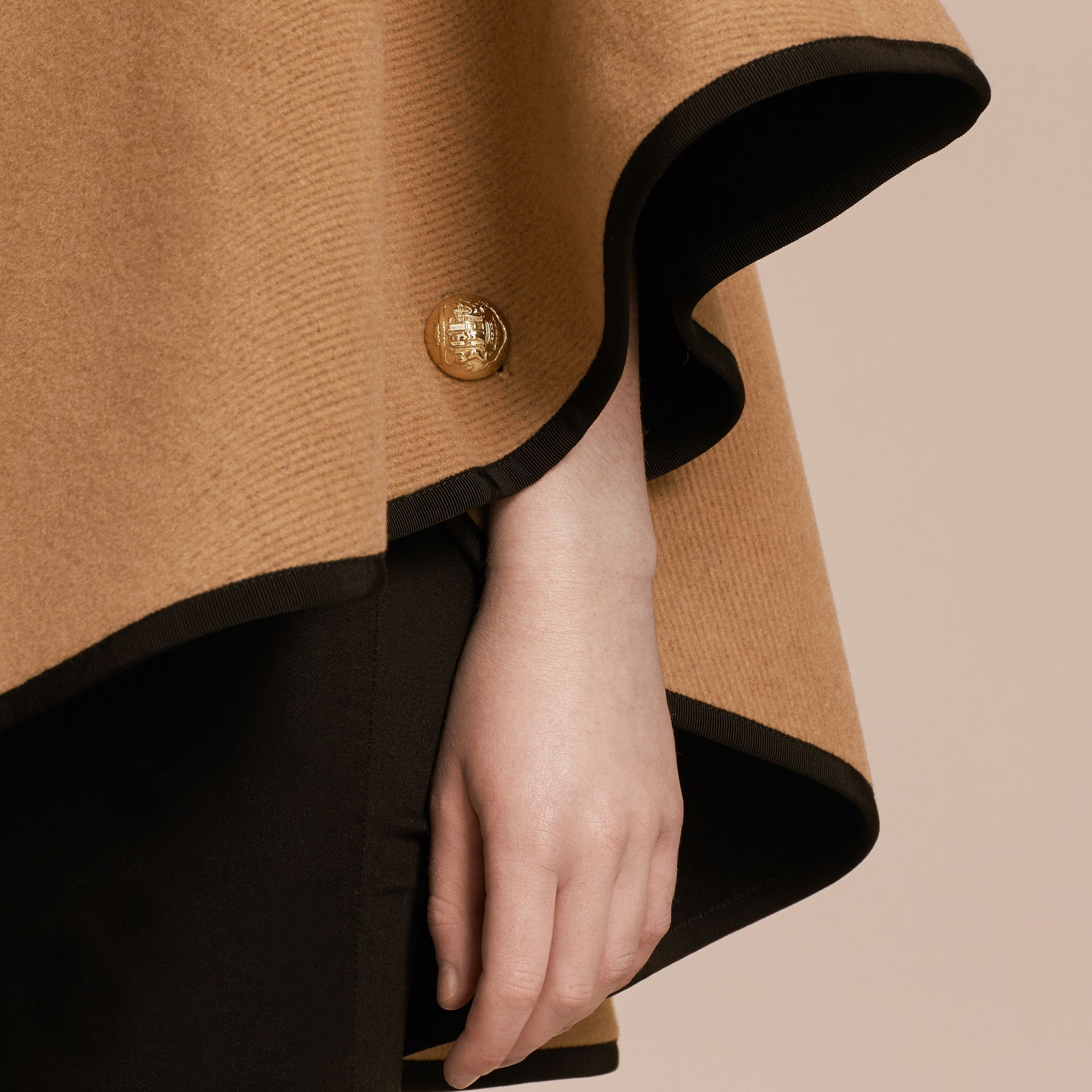 Camel/black Wool Cashmere Military Cape Camel/black - gallery image 5