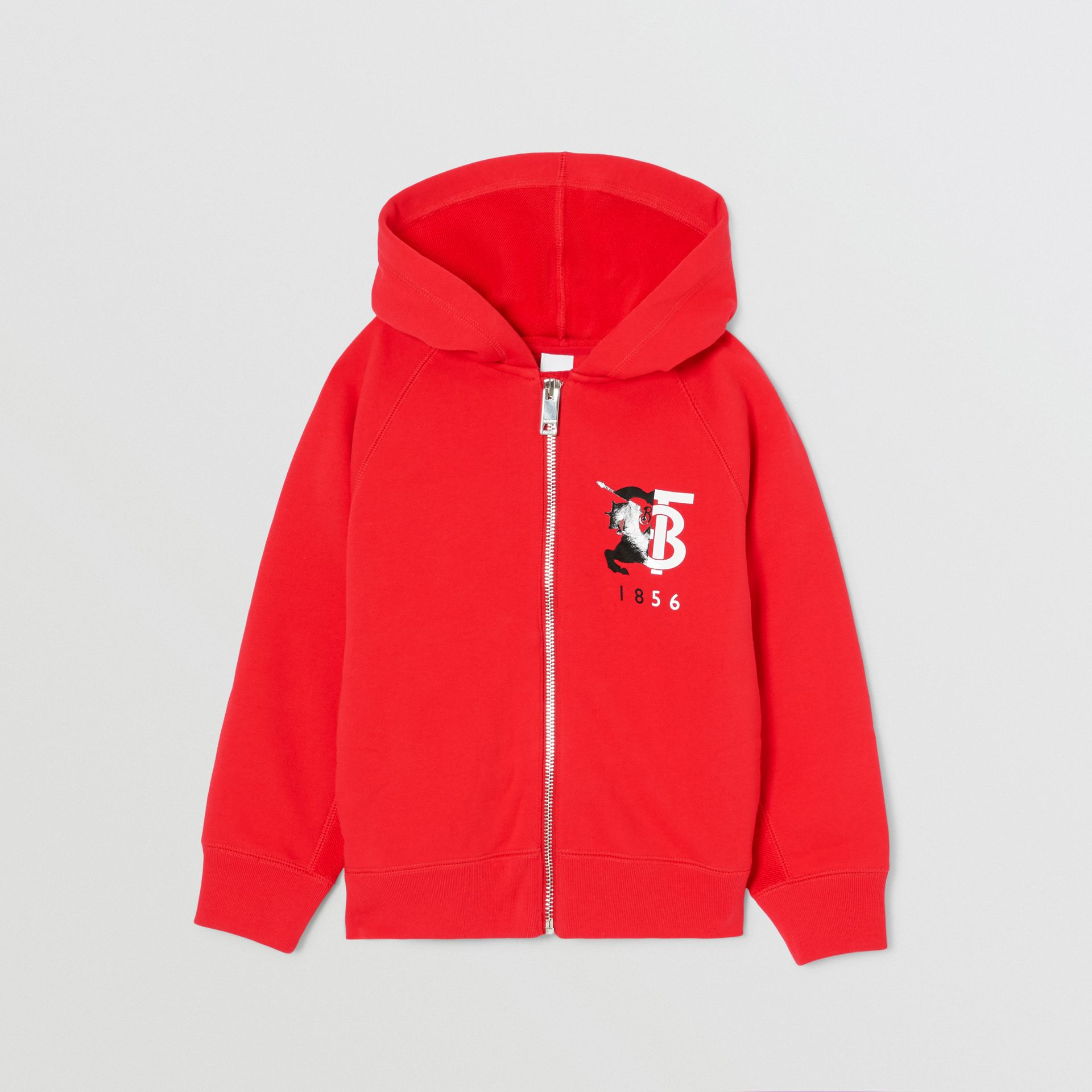 Contrast Logo Graphic Cotton Hooded Top in Bright Red | Burberry - gallery image 0