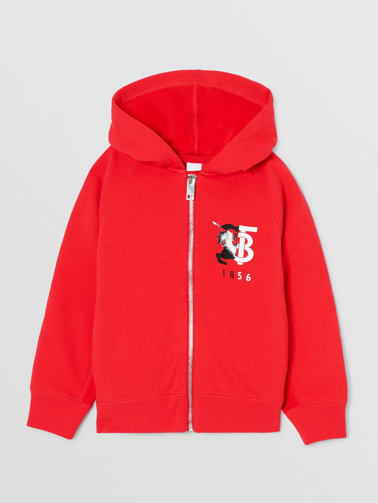 Contrast Logo Graphic Cotton Hooded Top in Bright Red