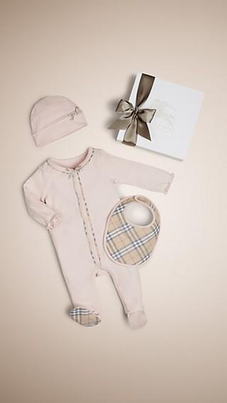 Set cadeau trois pièces en coton à motif check pour bébé