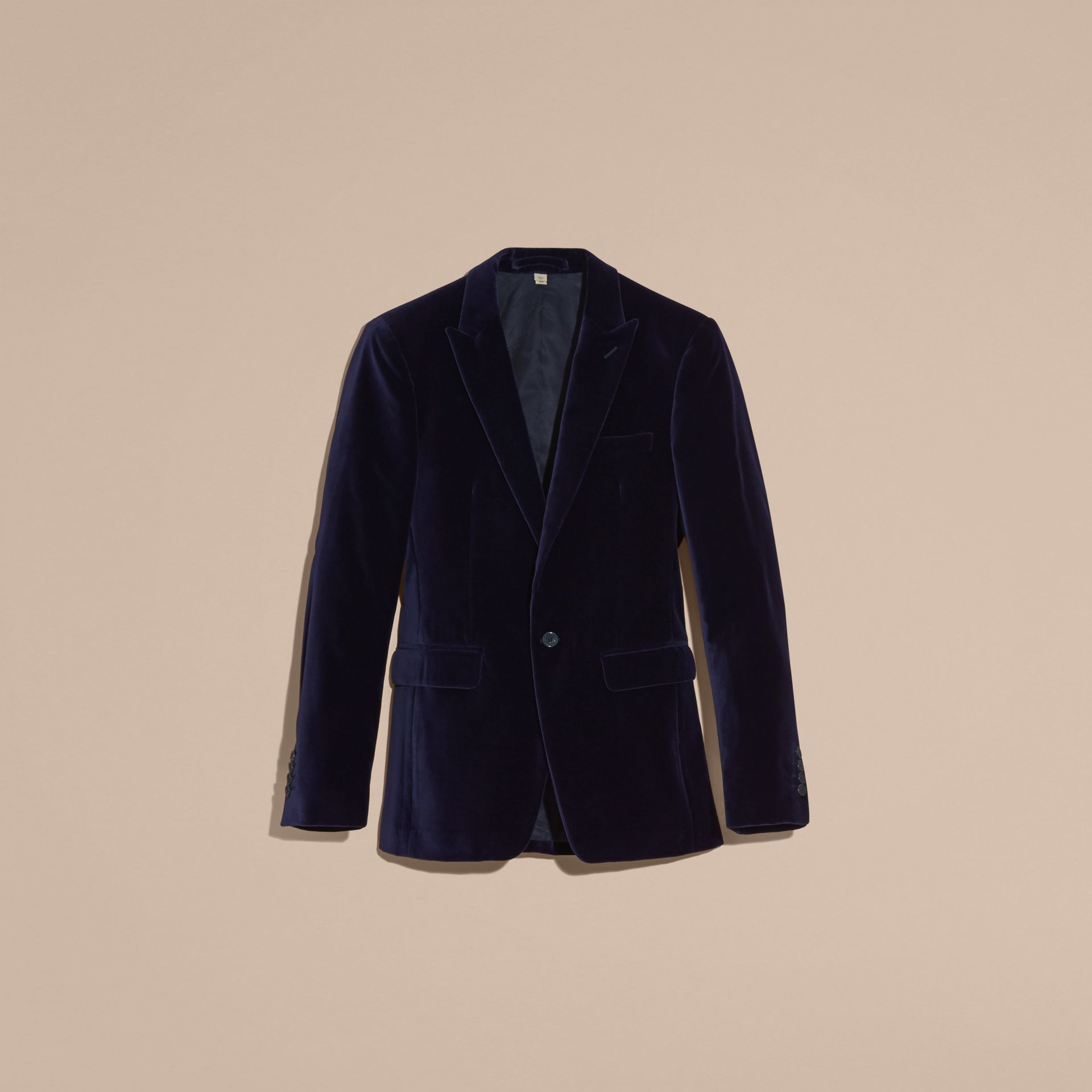 Indigo purple Slim Fit Tailored Velvet Jacket Indigo Purple - gallery image 4
