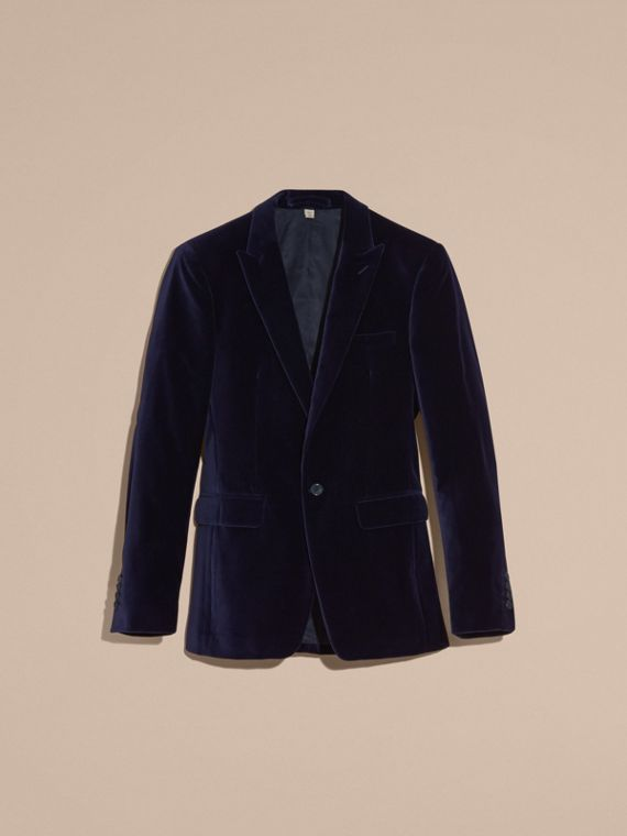 Black Slim Fit Tailored Velvet Jacket - cell image 3