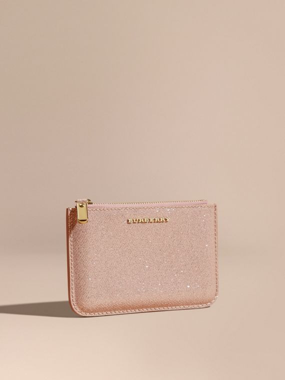 Glitter Leather Pouch Pale Orchid