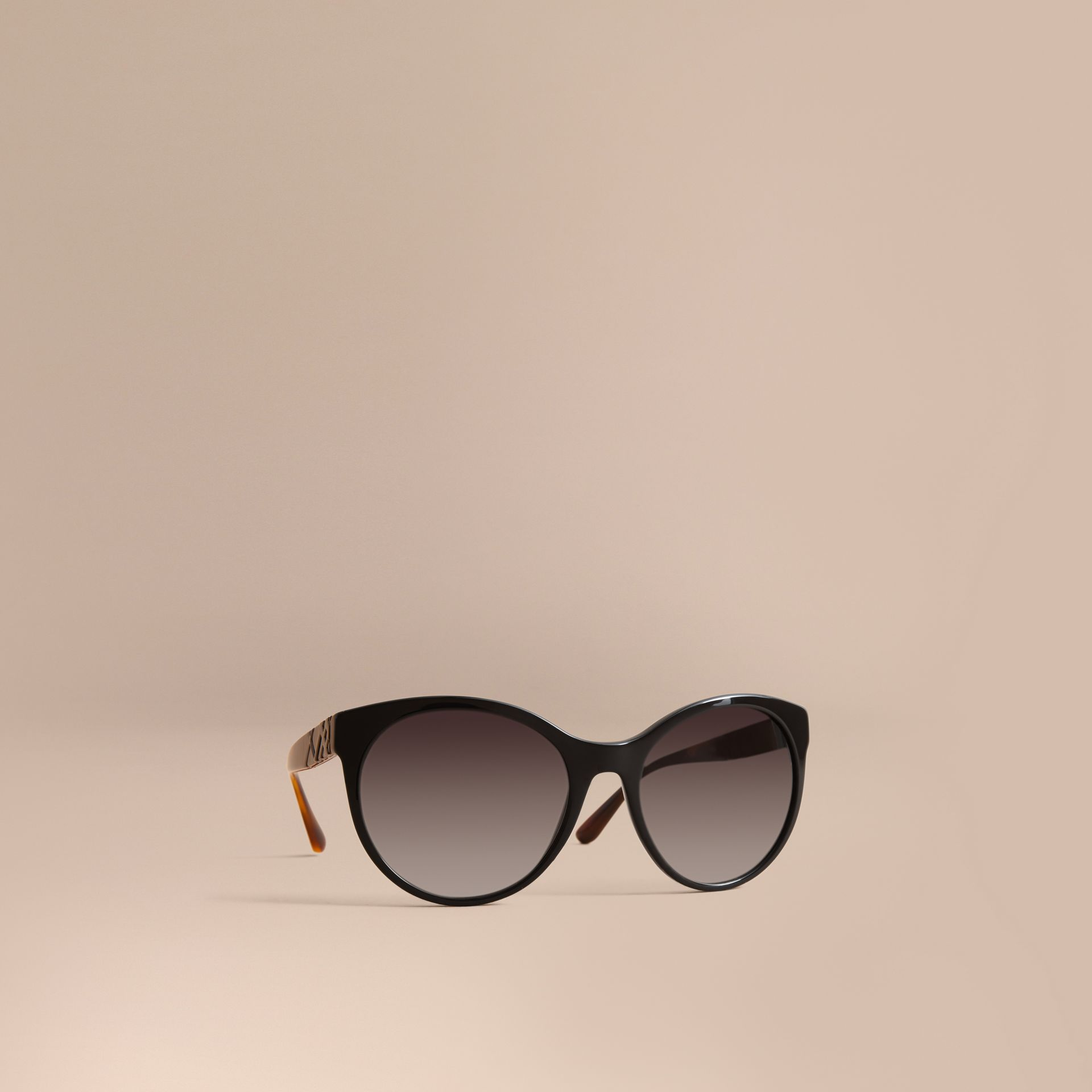 Check Detail Round Frame Sunglasses in Black - Women | Burberry Australia - gallery image 1