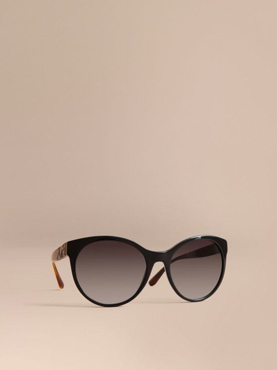 Check Detail Round Frame Sunglasses in Black - Women | Burberry Canada