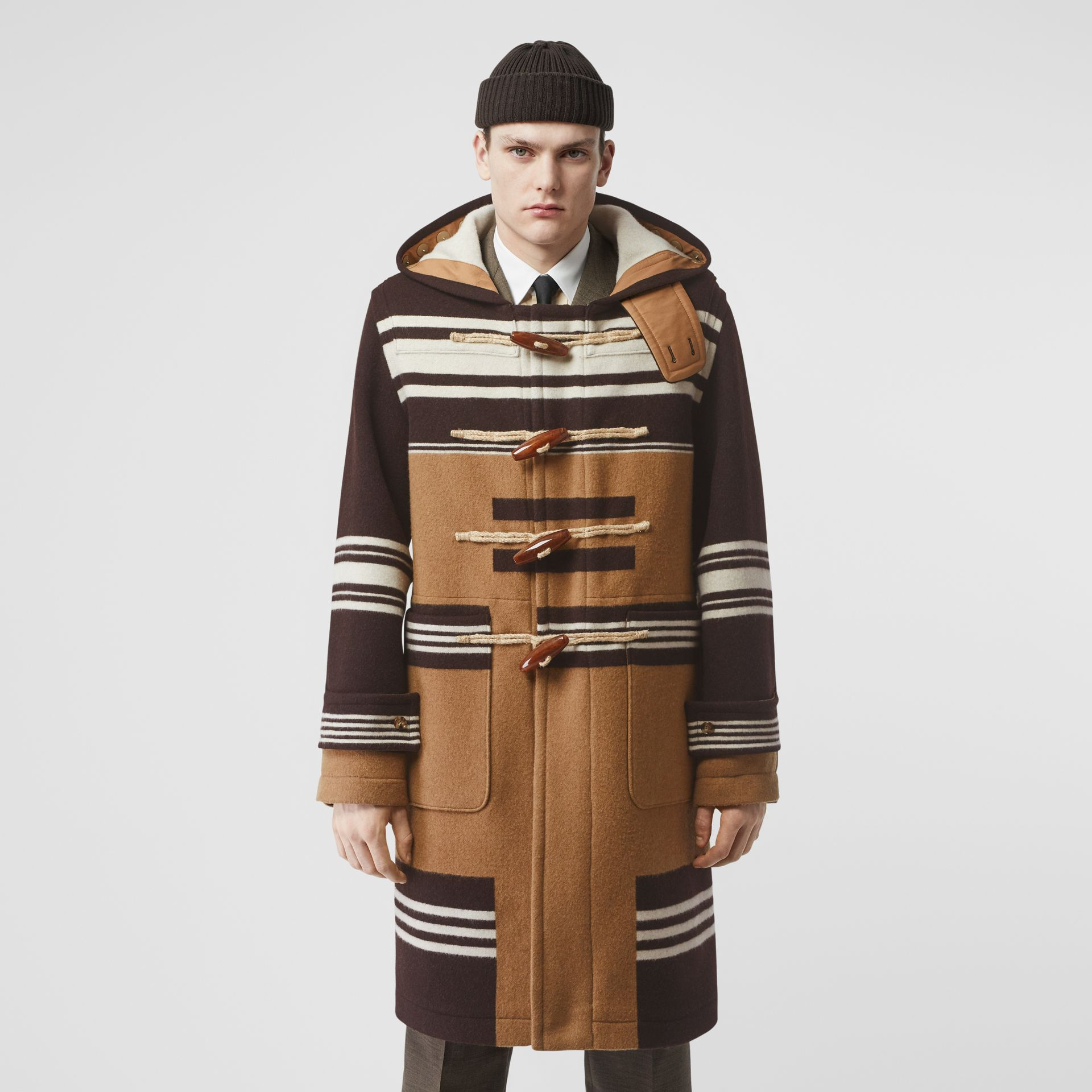 Stripe Detail Wool Duffle Coat in Camel - Men | Burberry Hong Kong S.A.R - gallery image 5