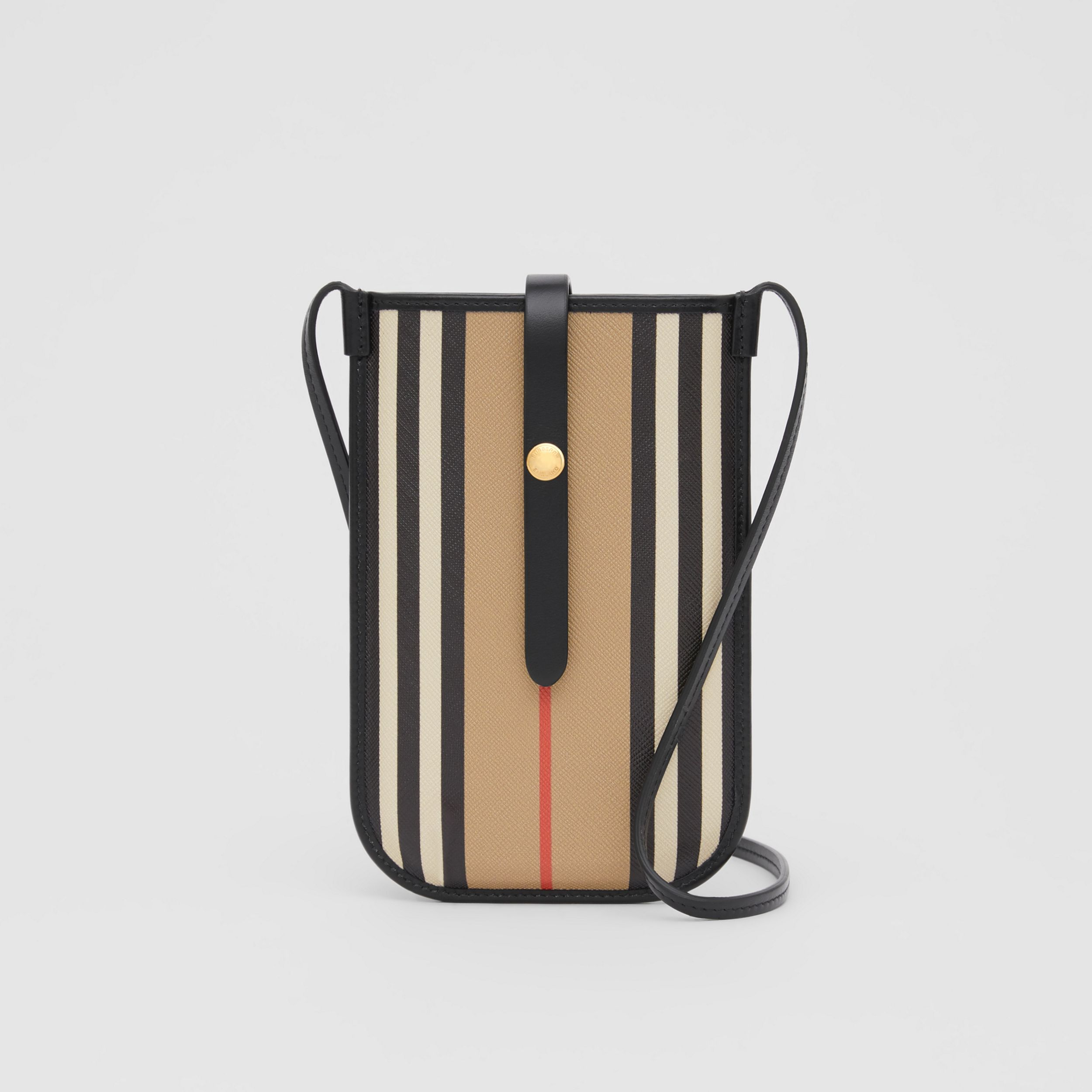Icon Stripe E-canvas Phone Case with Strap in Archive Beige | Burberry - 1