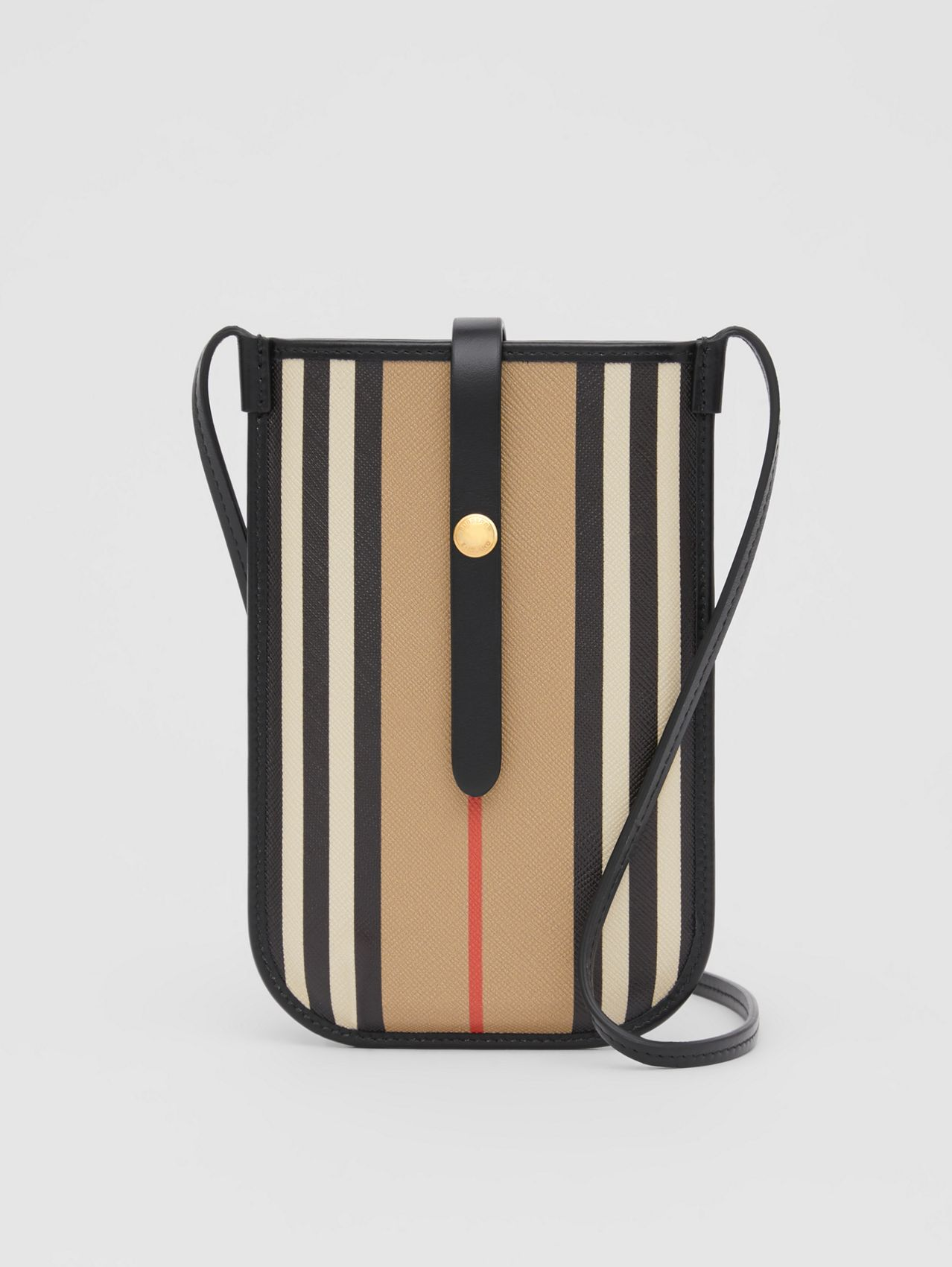 Icon Stripe E-canvas Phone Case with Strap in Archive Beige