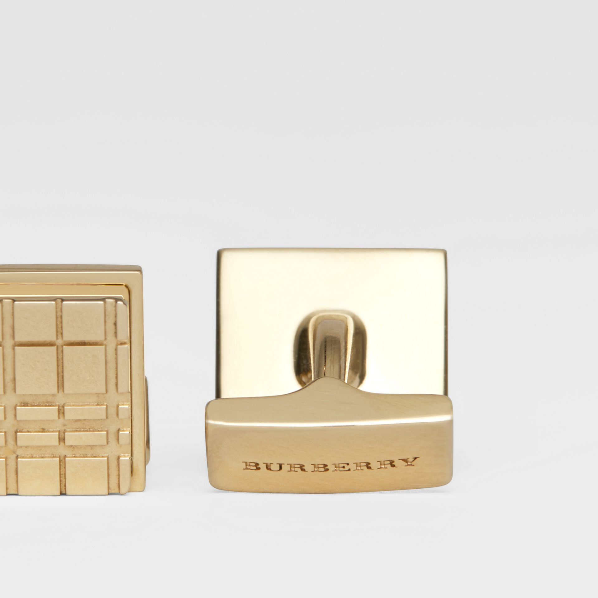 Check-engraved Square Cufflinks in Light Gold - Men | Burberry - gallery image 1