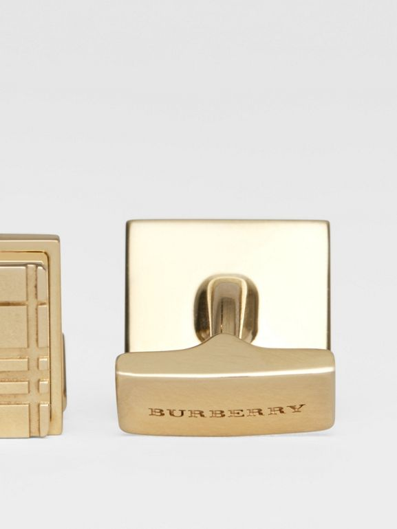Check-engraved Square Cufflinks in Light Gold - Men | Burberry - cell image 1