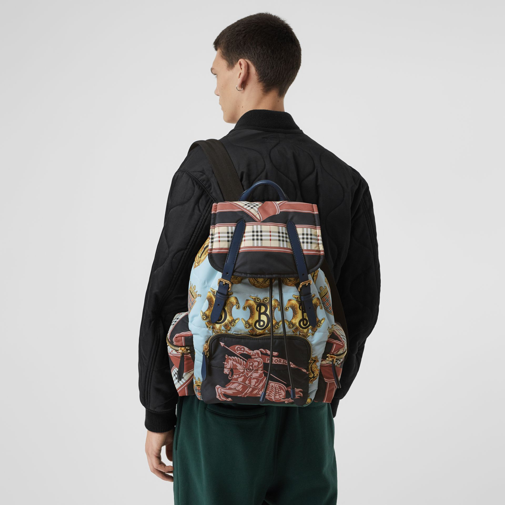 The Large Rucksack in Archive Scarf Print in Black - Men | Burberry - gallery image 7