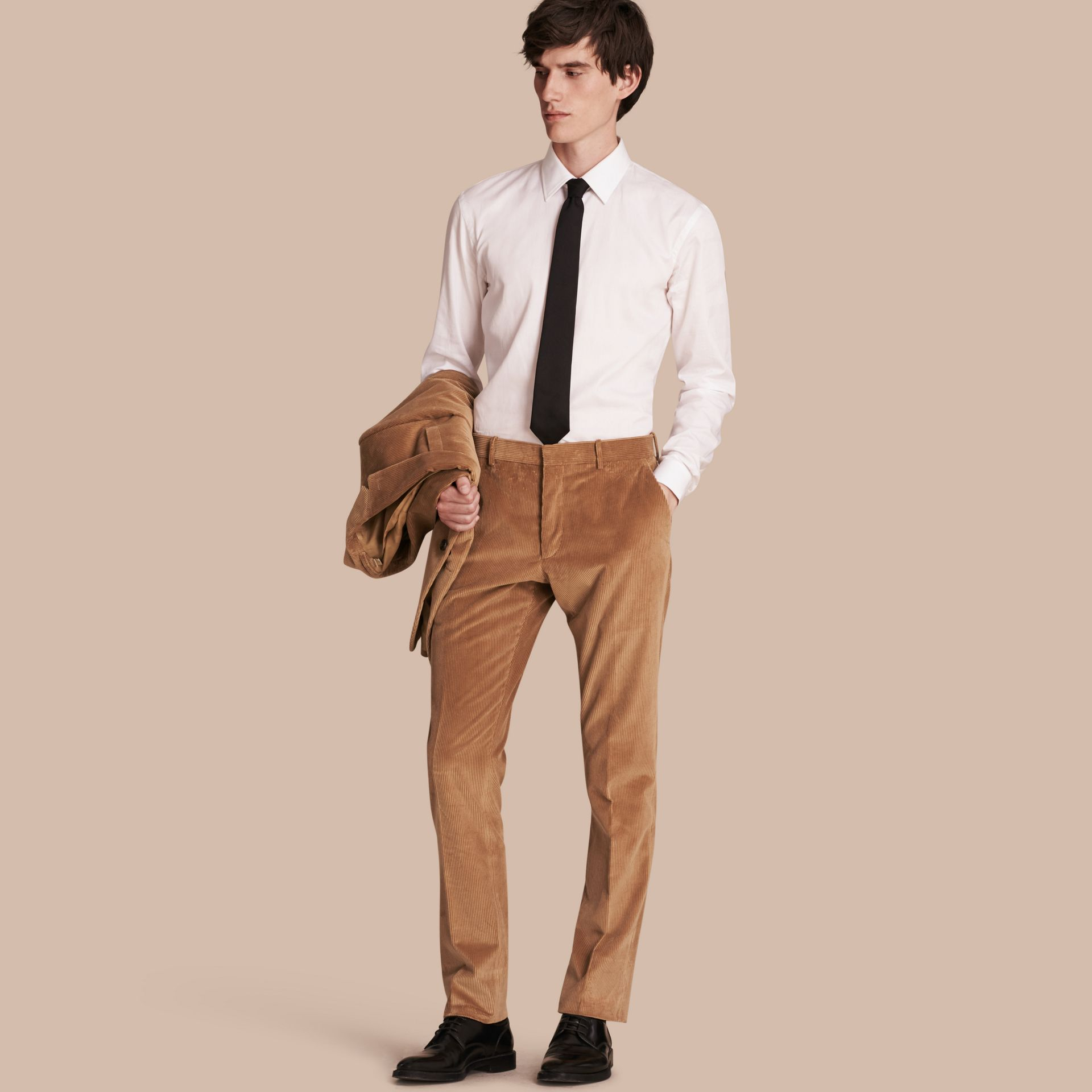 Camel Slim Fit Cotton Corduroy Trousers Camel - gallery image 1