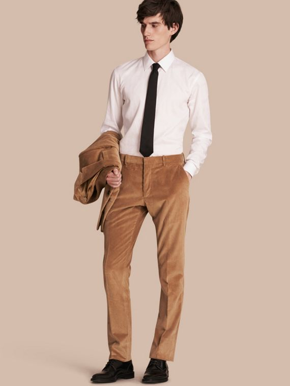 Slim Fit Cotton Corduroy Trousers Camel