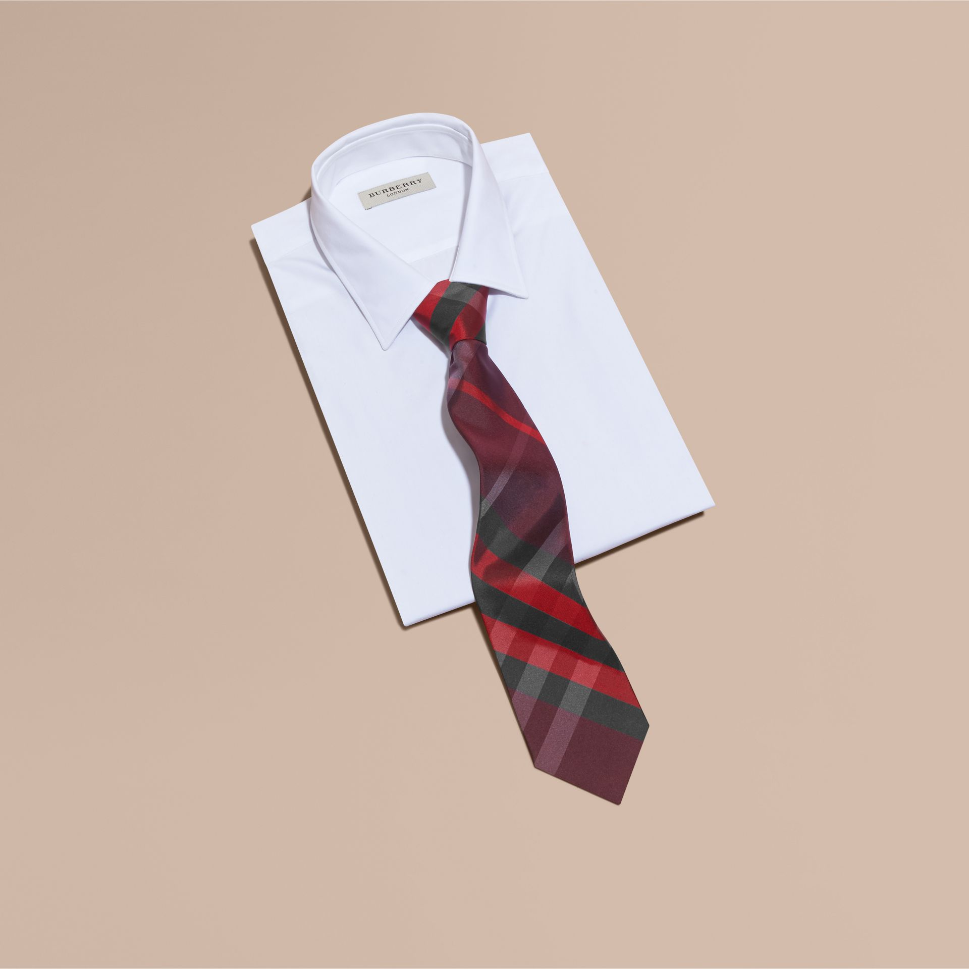 Burgundy red Classic Cut Check Silk Tie Burgundy Red - gallery image 3