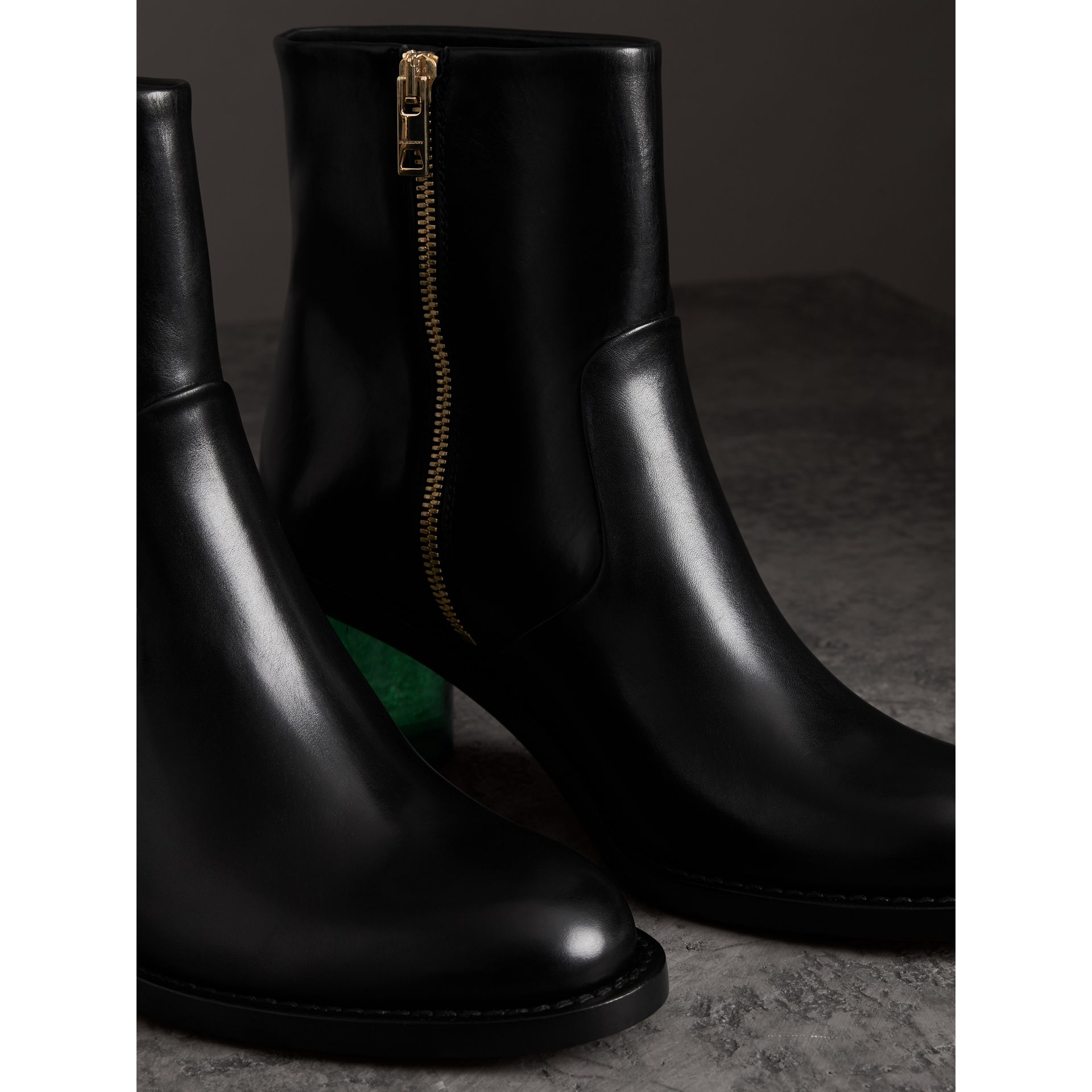 Two-tone Leather Block-heel Boots in Black - Women | Burberry United Kingdom - gallery image 4