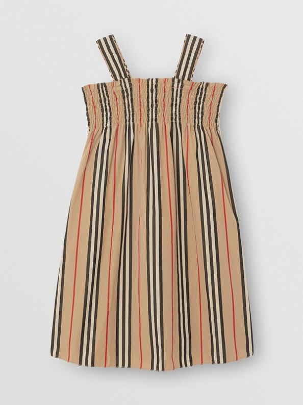 Smocked Icon Stripe Cotton Dress in Archive Beige