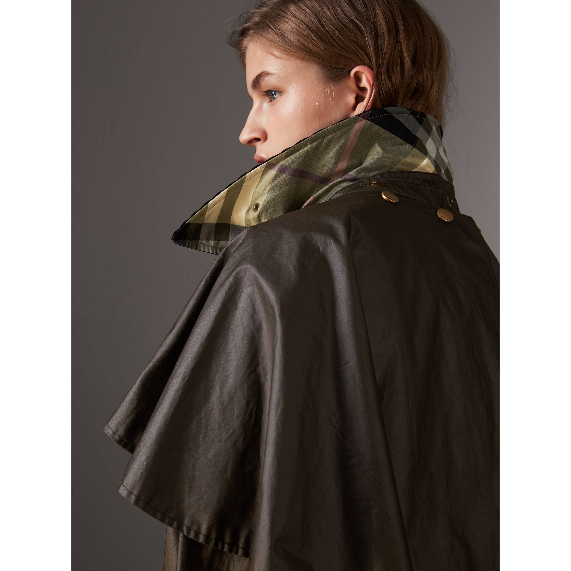 Corduroy Collar Waxed Cotton Cape in Dark Olive - Women | Burberry - gallery image 1
