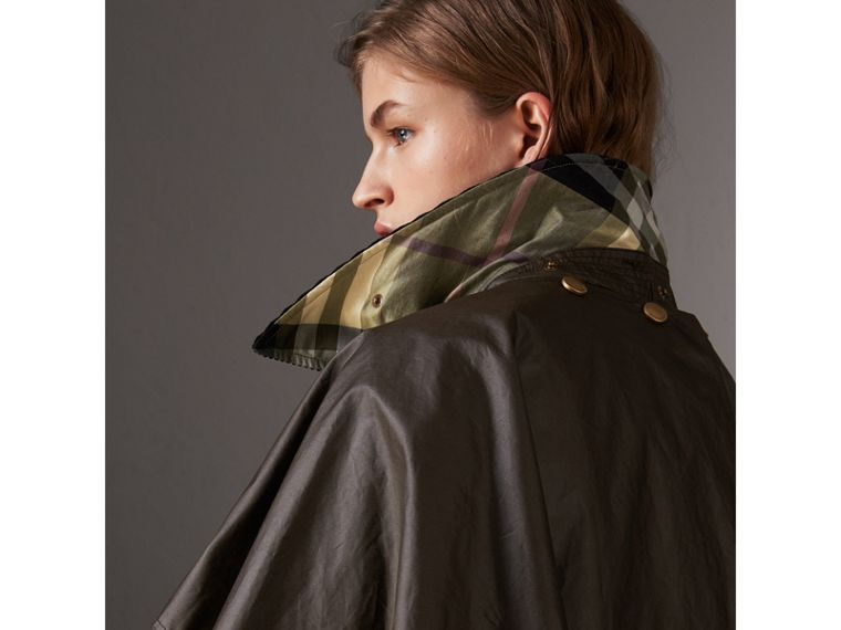 Corduroy Collar Waxed Cotton Cape in Dark Olive - Women | Burberry - cell image 1