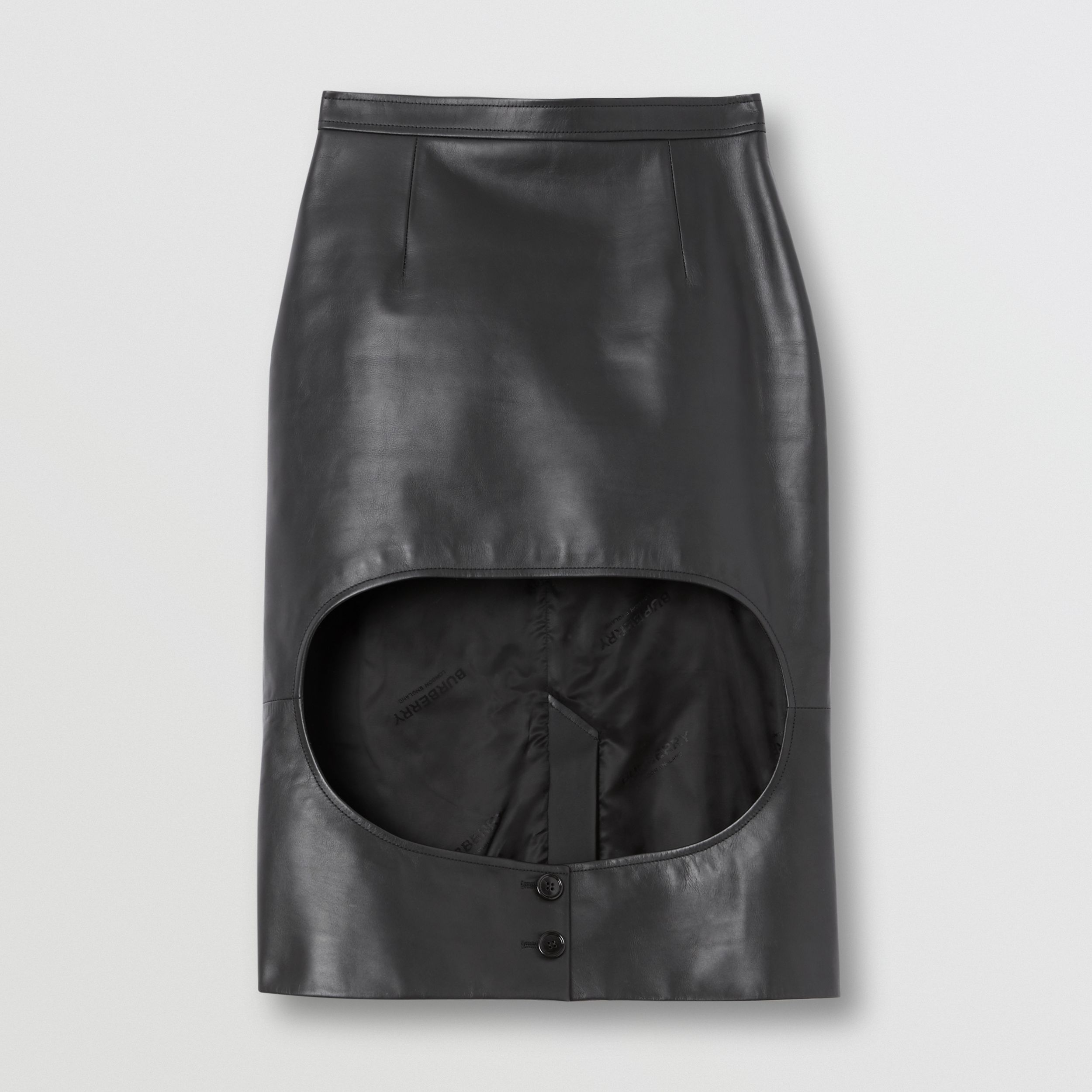 Leather Step-through Pencil Skirt in Black - Women | Burberry - 3