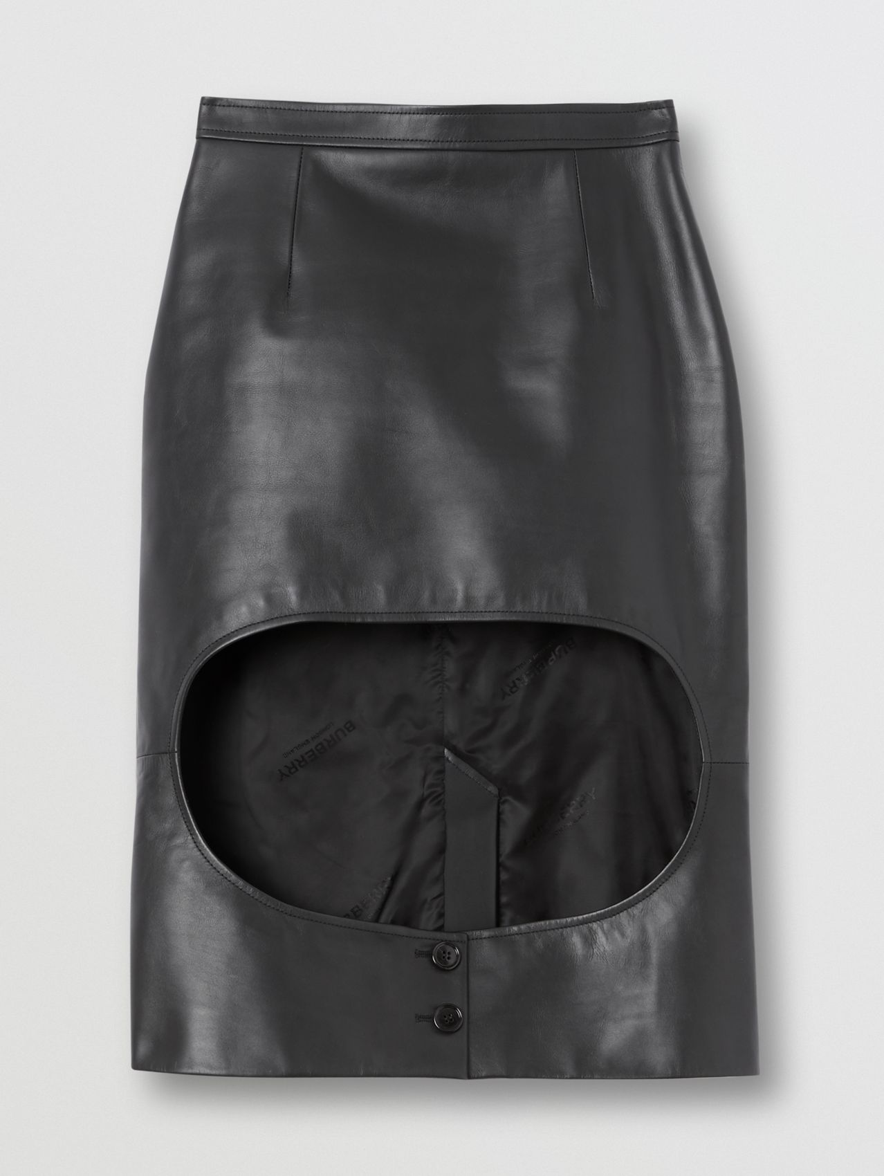 Leather Step-through Pencil Skirt in Black