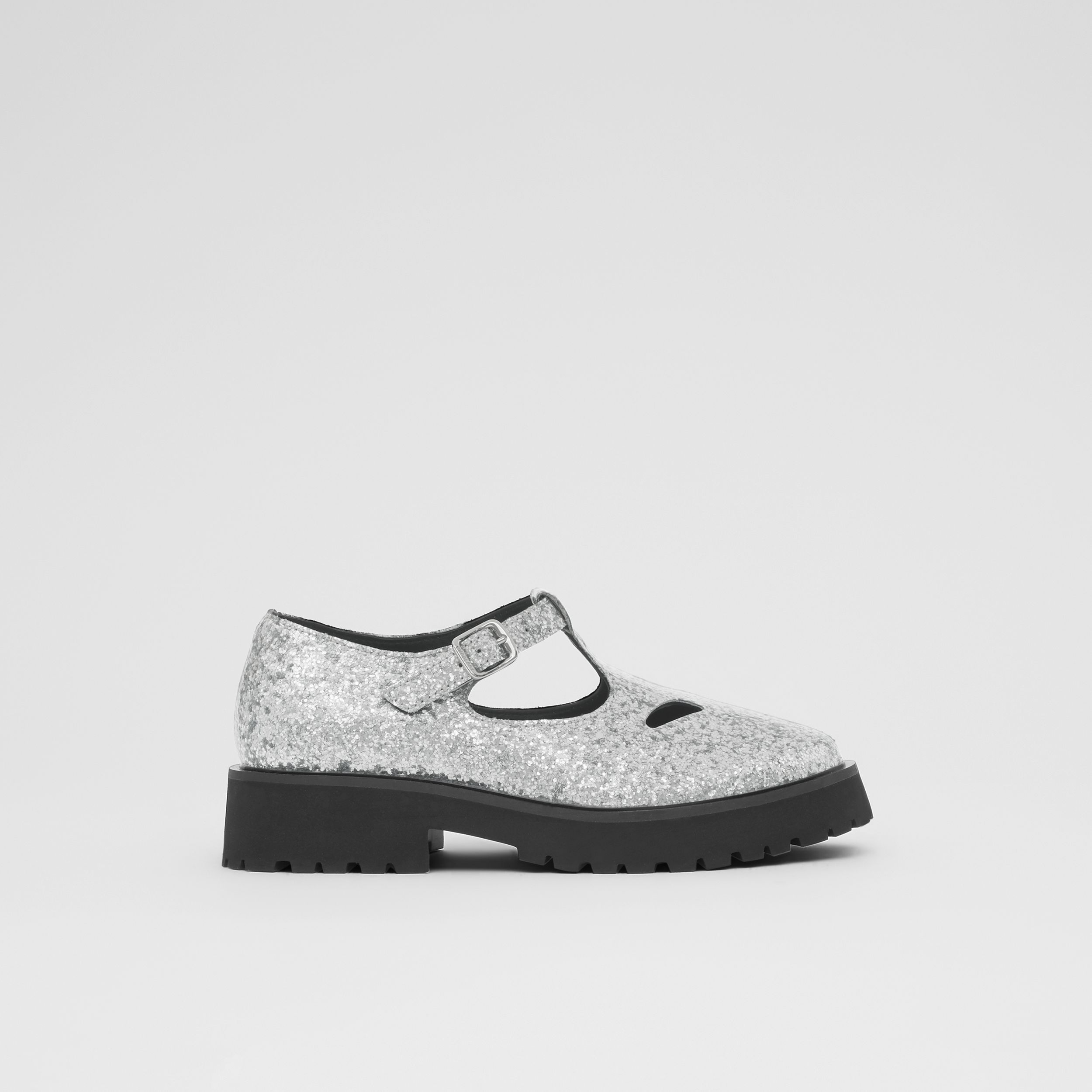 Glittery T-bar Shoes in Silver - Children | Burberry - 4
