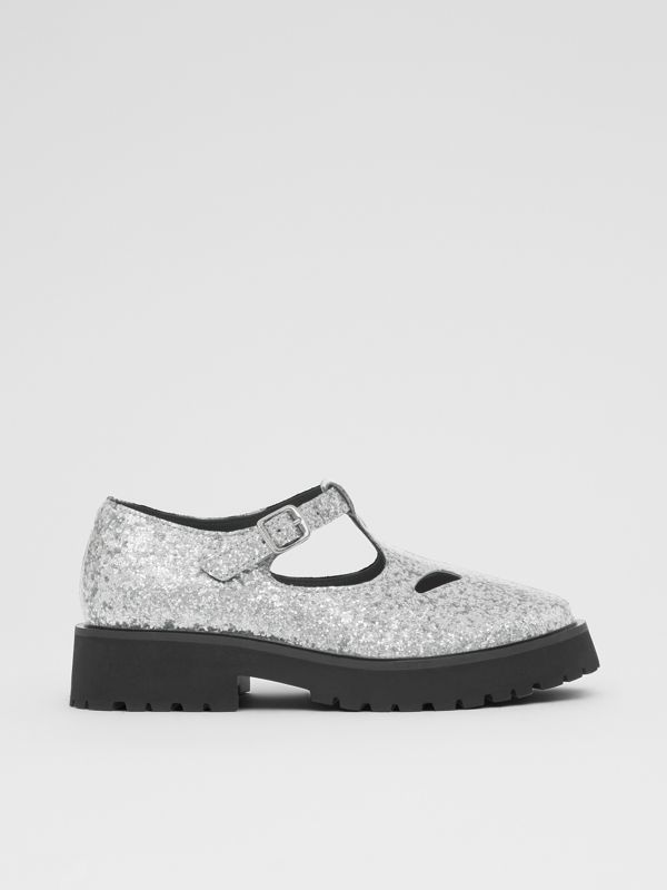 Glittery T-bar Shoes in Silver - Children | Burberry - cell image 3
