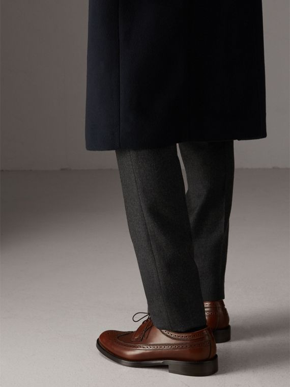 Leather Derby Brogues in Chestnut - Men | Burberry Australia - cell image 2
