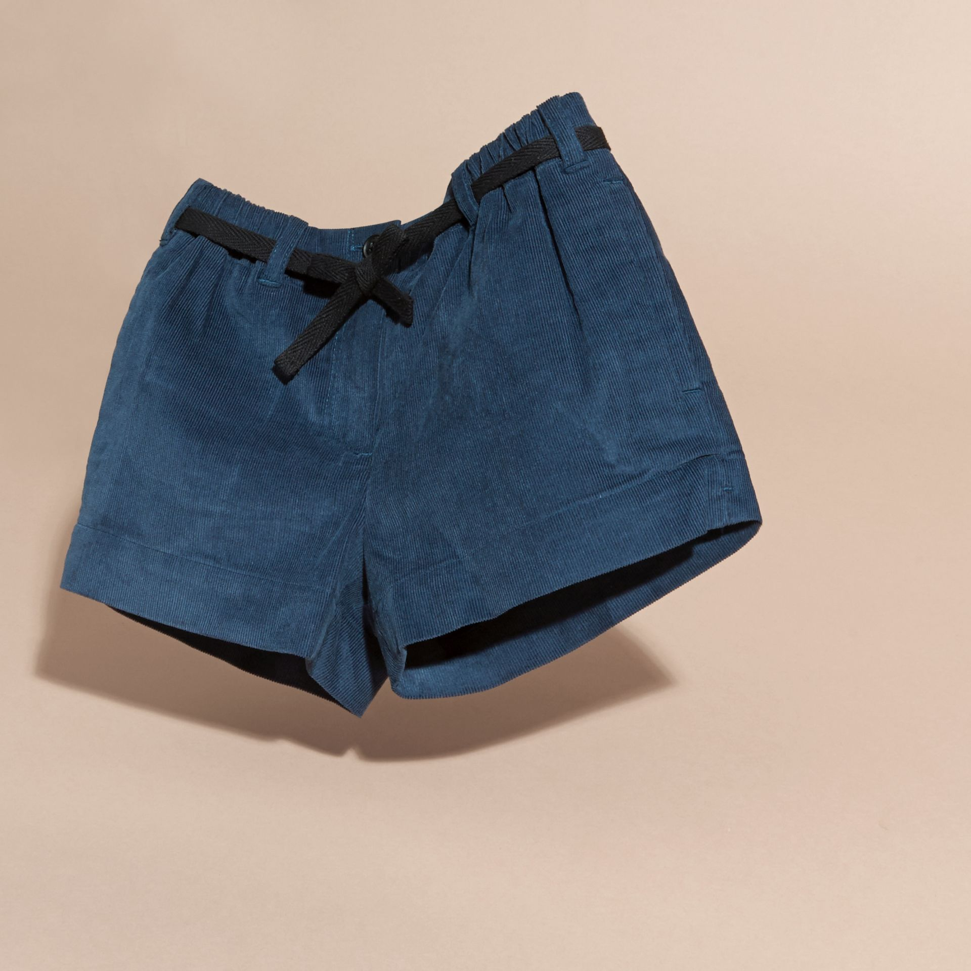 Deep teal blue Belted Corduroy Shorts - gallery image 3