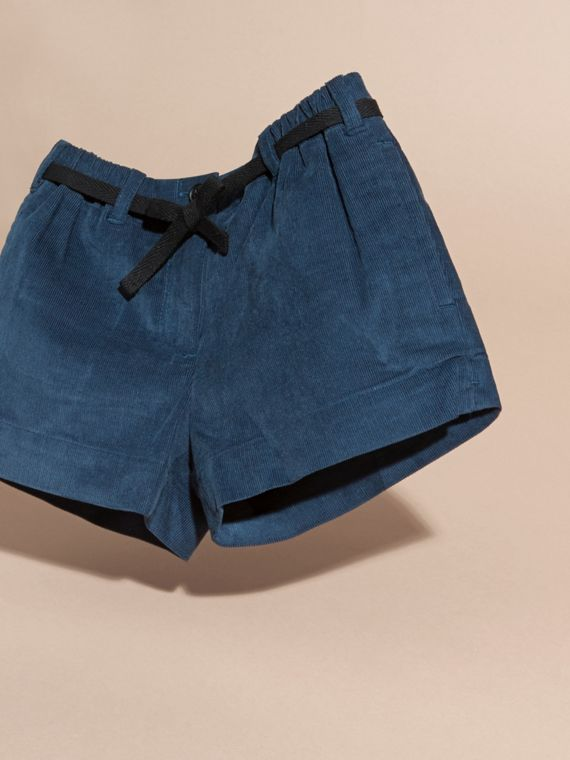 Deep teal blue Belted Corduroy Shorts - cell image 2