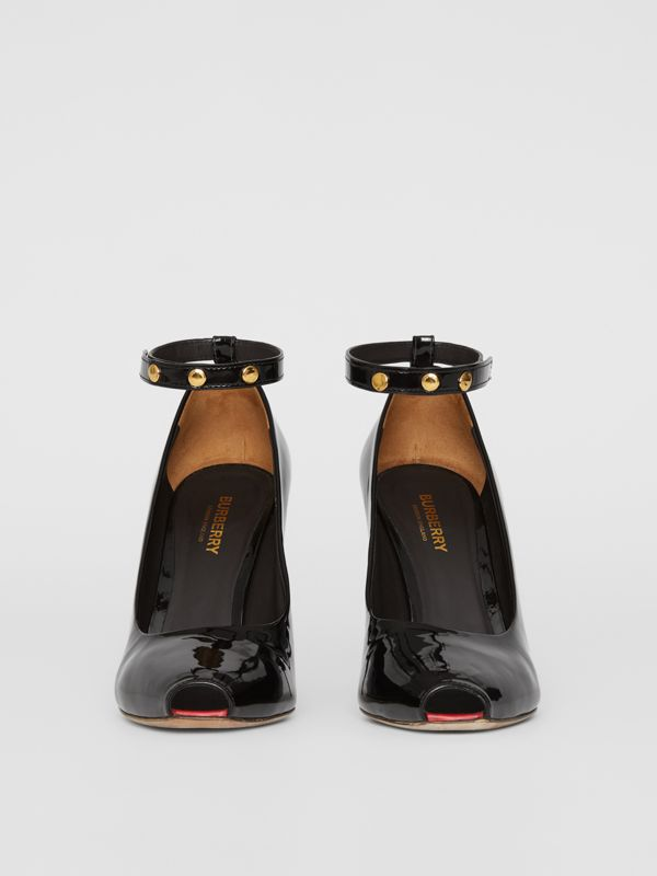 D-ring Detail Patent Leather Peep-toe Pumps in Coffee - Women | Burberry Singapore - cell image 3