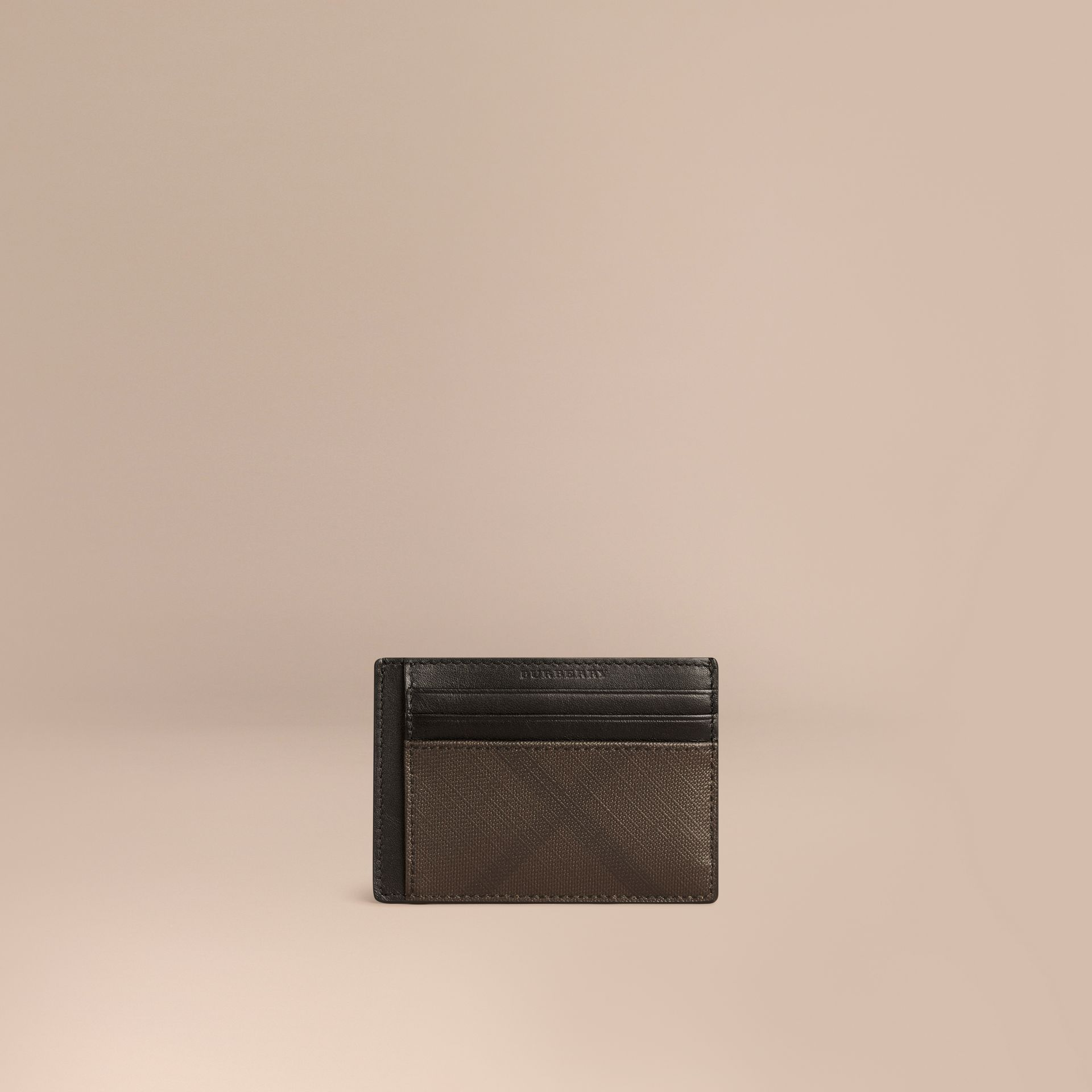 London Check Money Clip Card Case in Chocolate/black - Men | Burberry - gallery image 1
