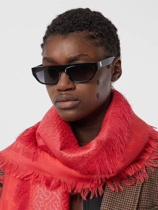 Metallic Monogram Silk Blend Large Square Scarf in Bright Red | Burberry - cell image 2