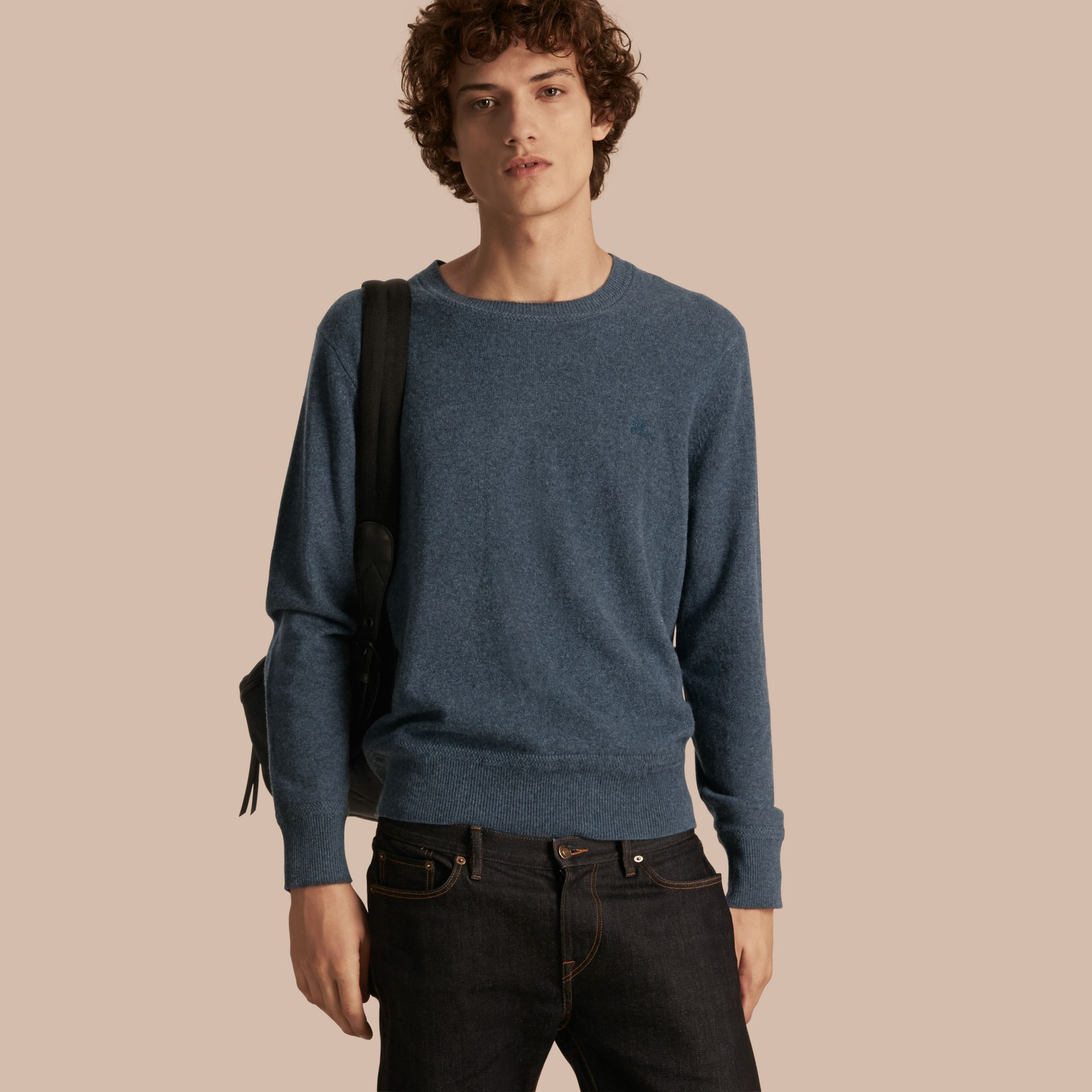 Crew Neck Cashmere Sweater Airforce Blue - gallery image 1