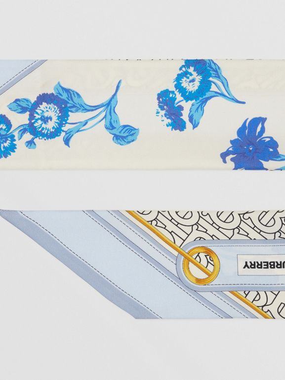 Floral and Monogram Print Silk Skinny Scarf in Pale Blue   Burberry United States - cell image 1