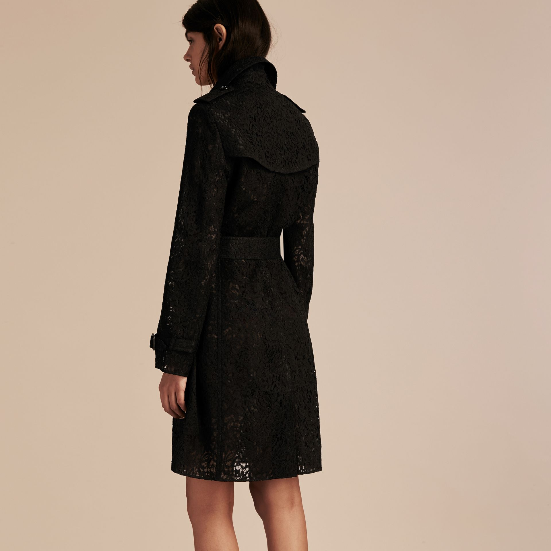 Black Italian Lace Trench Coat - gallery image 3