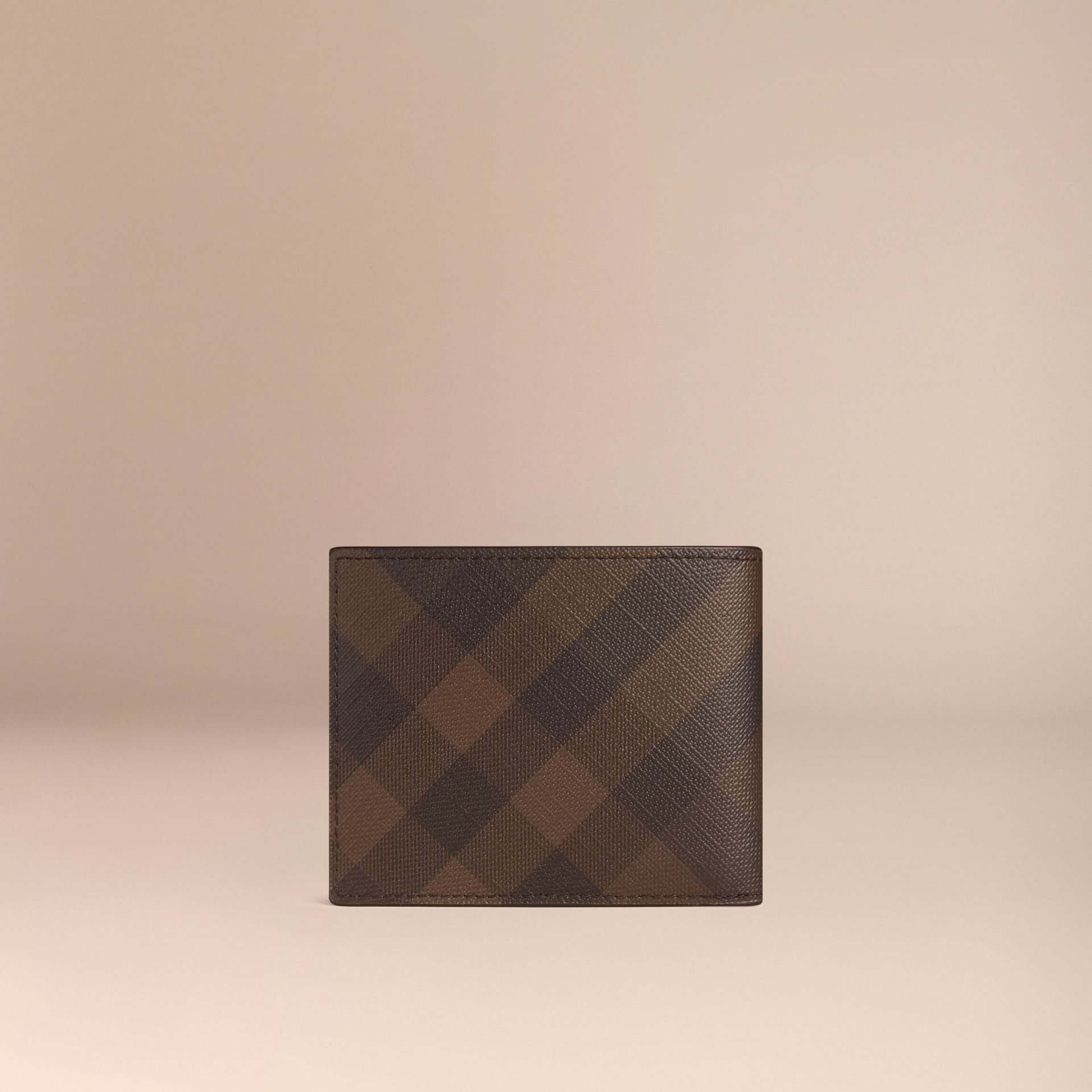 London Check and Leather Bifold Wallet in Chocolate/black - gallery image 3