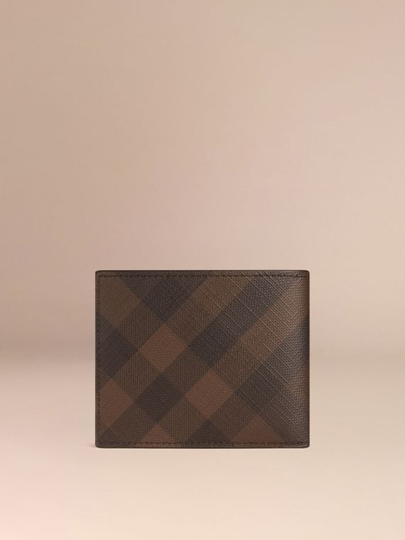 London Check and Leather Bifold Wallet in Chocolate/black - cell image 2