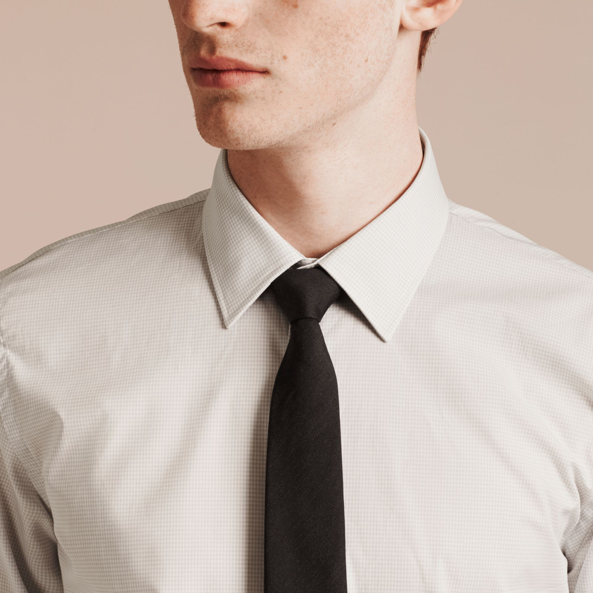 City grey Slim Fit Gingham Cotton Poplin Shirt - gallery image 5