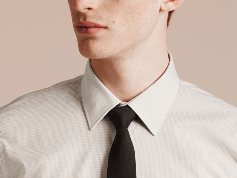 City grey Slim Fit Gingham Cotton Poplin Shirt - cell image 4