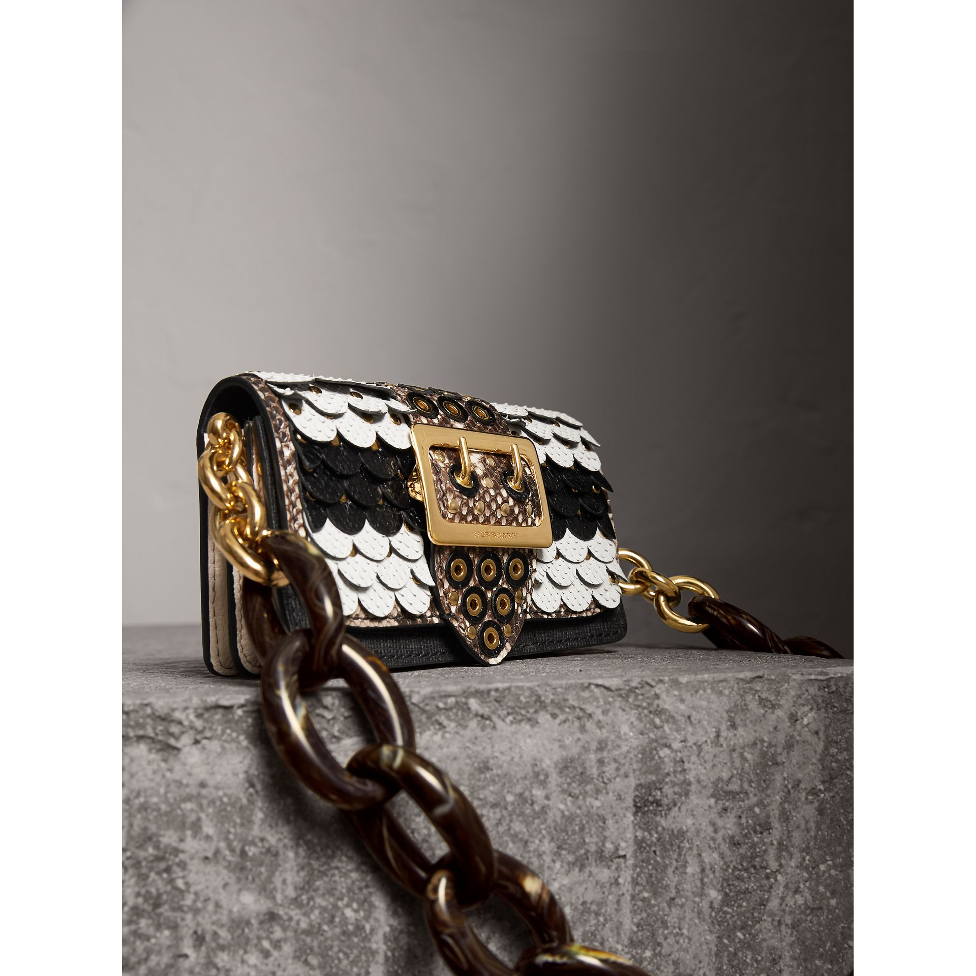 The Small Buckle Bag in Scalloped Snakeskin in Black/white - Women | Burberry - gallery image 7