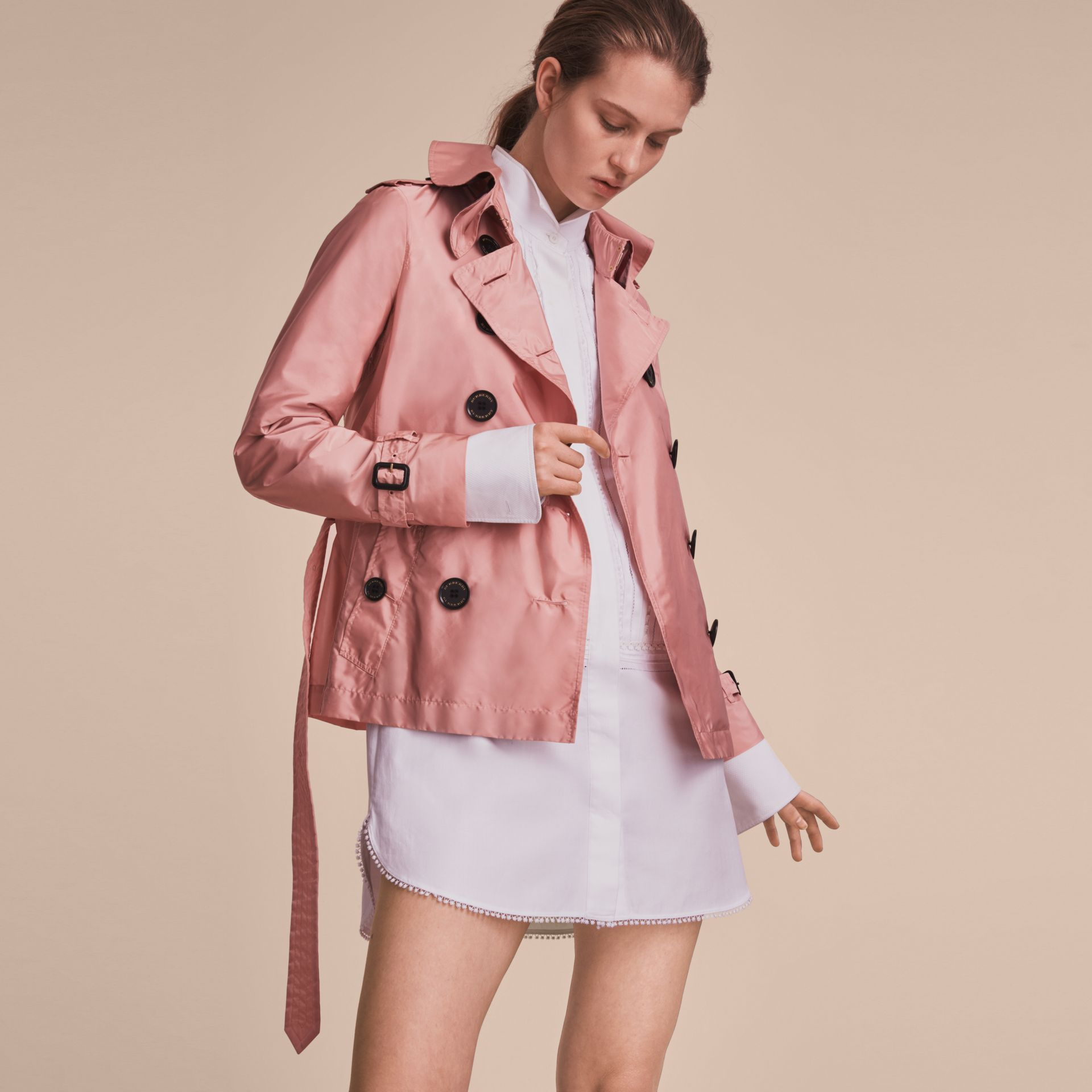 Showerproof Trench Coat in Antique Rose - Women | Burberry - gallery image 6