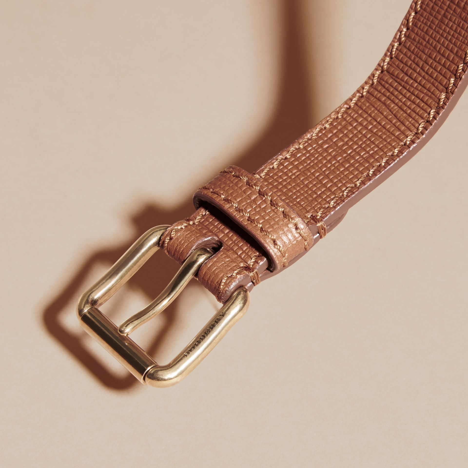 Dark tan Textured Leather Belt with Topstitch Detail Dark Tan - gallery image 2