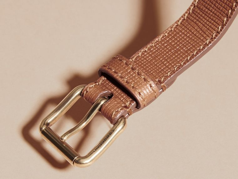 Dark tan Textured Leather Belt with Topstitch Detail Dark Tan - cell image 1