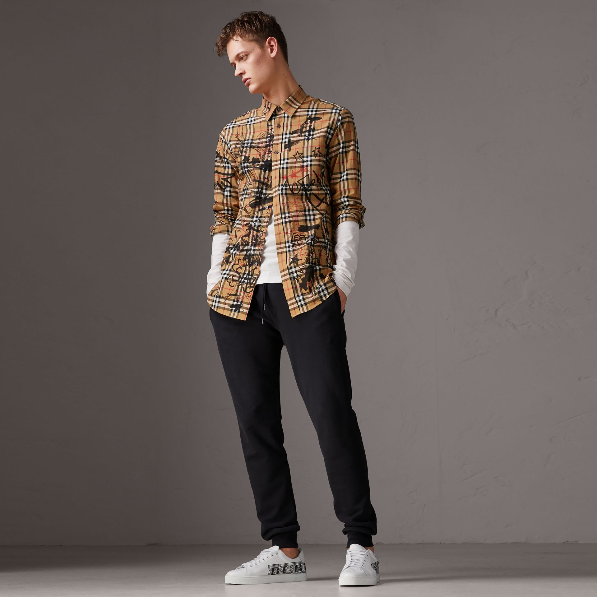 Burberry x Kris Wu Vintage Check Cotton Shirt in Antique Yellow - Men | Burberry United Kingdom - gallery image 0