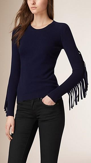 Fringe Detail Virgin Wool Sweater