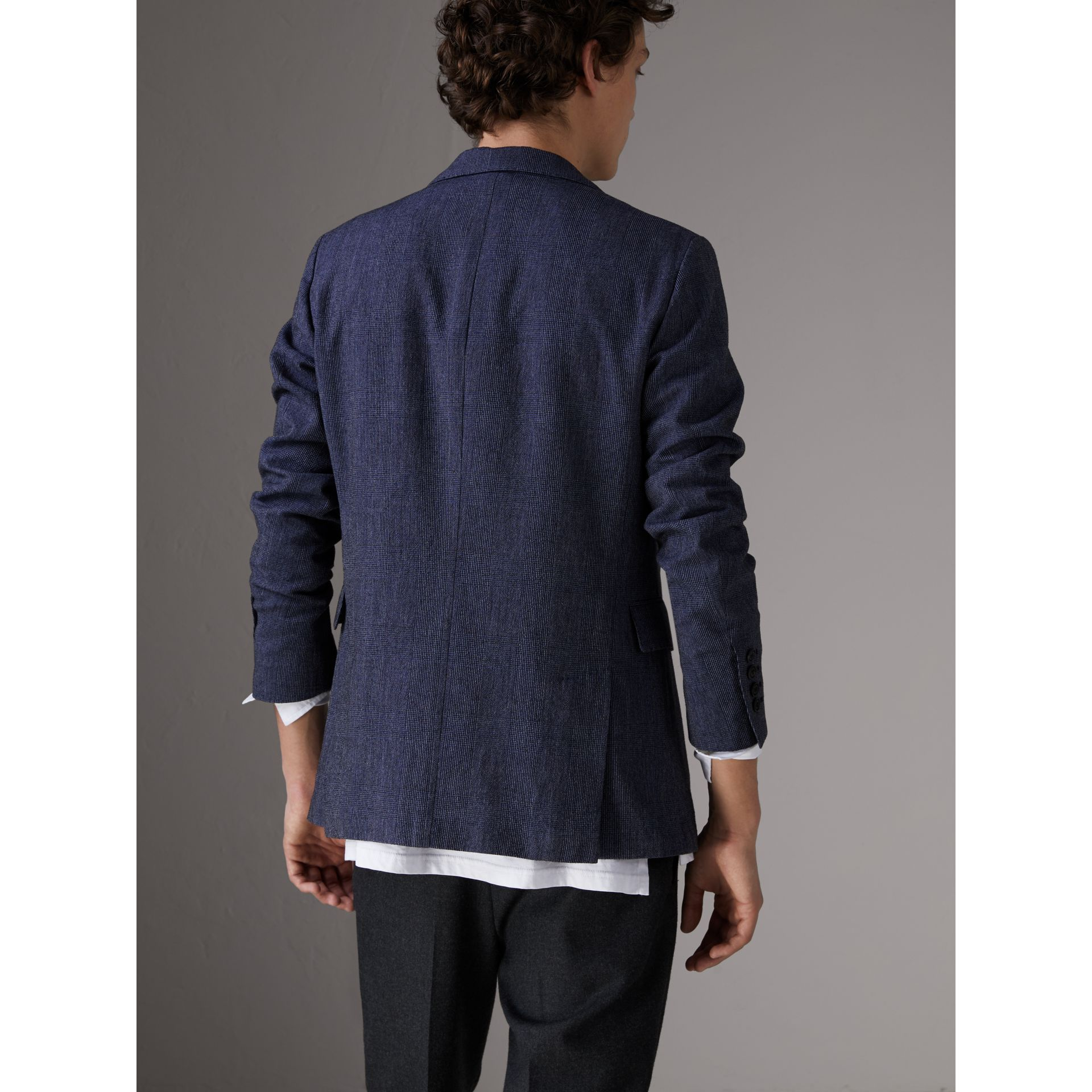 Slim Fit Cotton Wool Blend Tailored Jacket in Bright Blue Melange - Men | Burberry - gallery image 2
