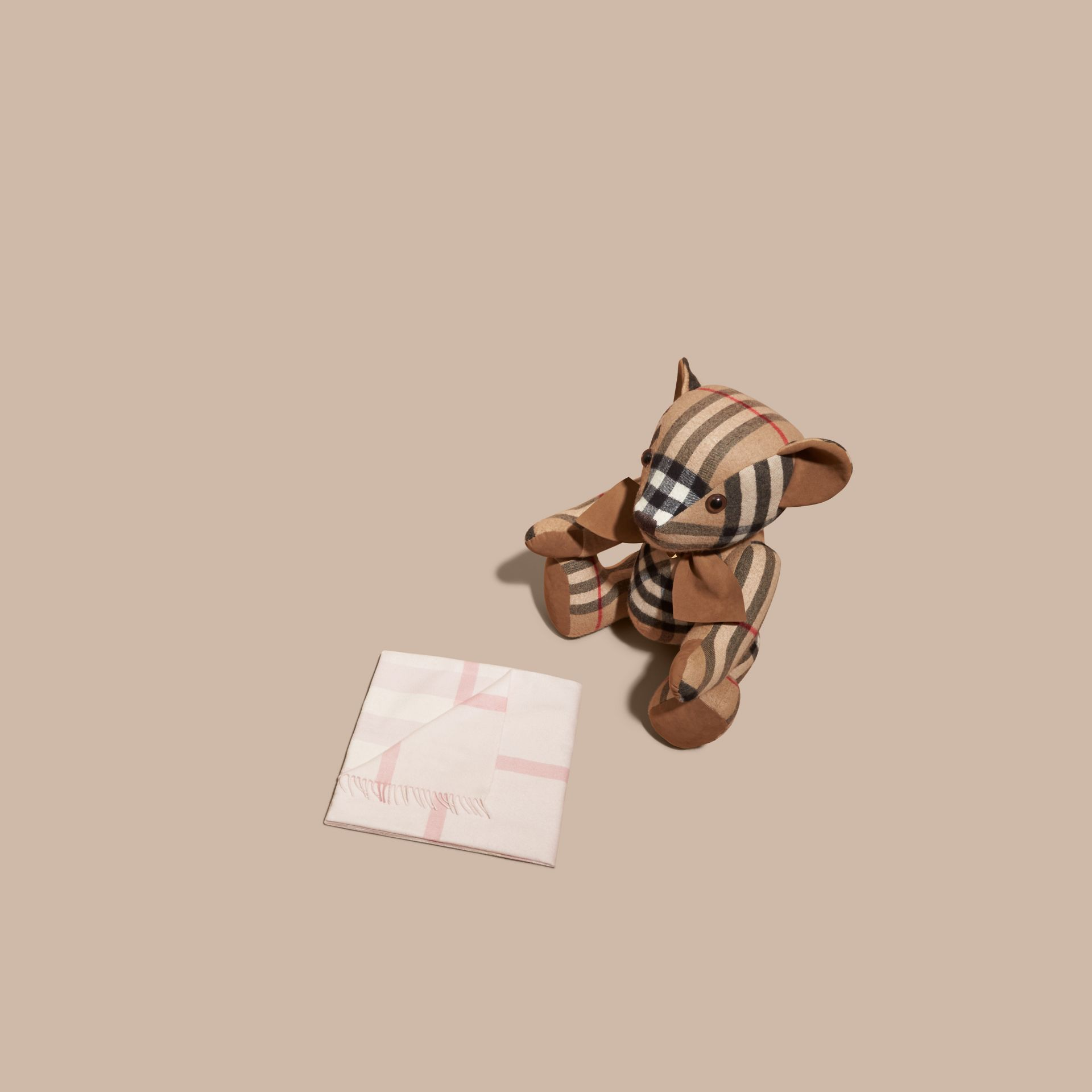Check Cashmere Baby Blanket in Powder Pink - Children | Burberry - gallery image 3