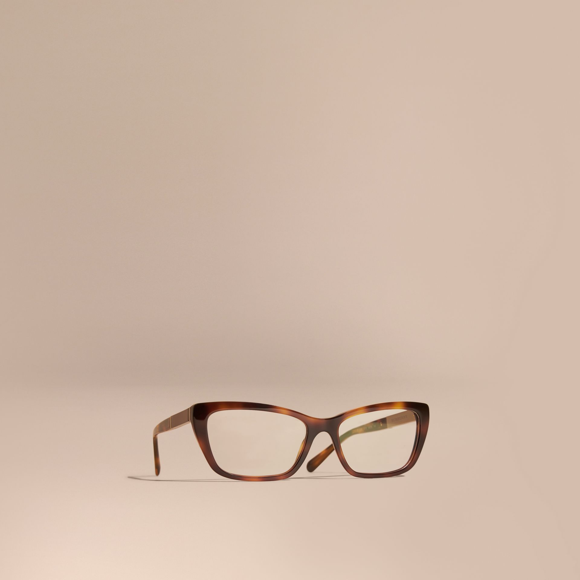 Check Detail Rectangular Cat-eye Optical Frames Light Russet Brown - gallery image 1
