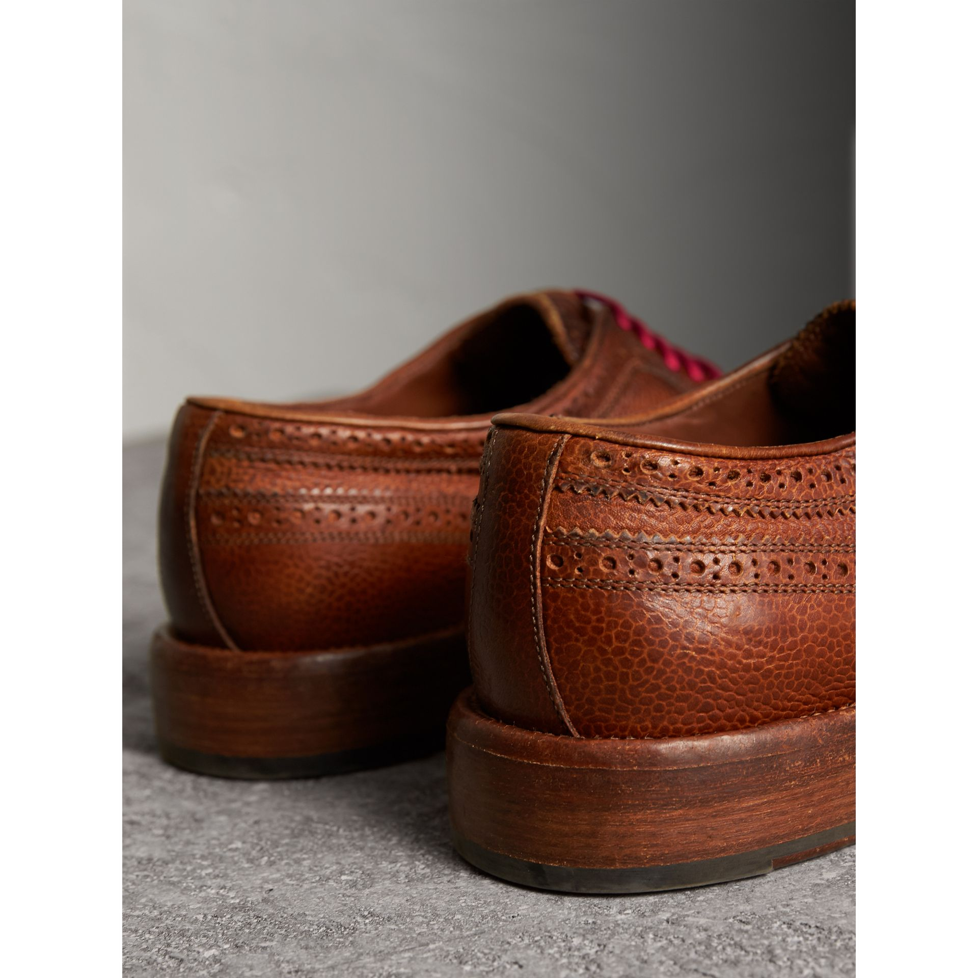 Grainy Leather Brogues with Bright Laces in Vintage Chestnut - Men | Burberry - gallery image 3
