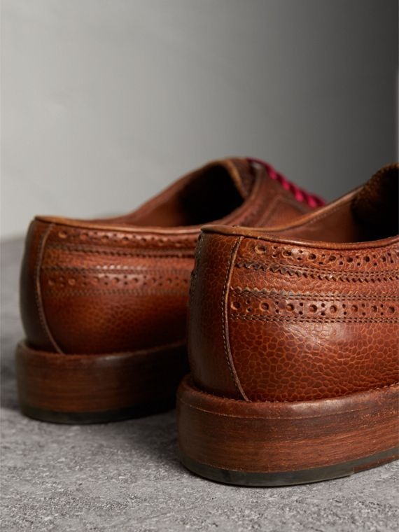 Grainy Leather Brogues with Bright Laces in Vintage Chestnut - Men | Burberry United States - cell image 3
